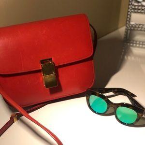 CELINE Box Calfskin Medium Classic Box Flap Red